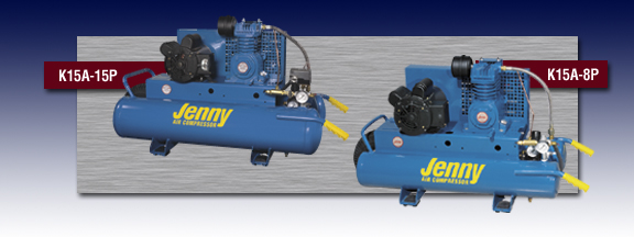 Jenny Single Stage Wheeled Portable Electric Motor Air Compressor - Models K15A-15P and K15A-8P