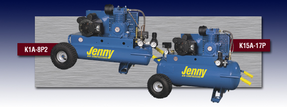 Jenny Single Stage Wheeled Portable Electric Motor Air Compressor - Models K1A-8P2 and K15A-17P