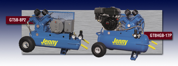 Jenny Two Stage Wheeled Portable Air Compressors - Models GT5B-8P2 and GT8HGB-17P