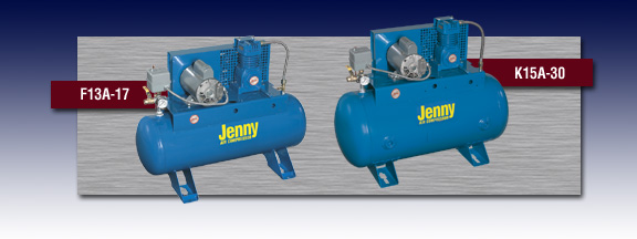 Jenny Single Stage Electric Stationary Air Compressor - Models F34A-17 and K15A-30